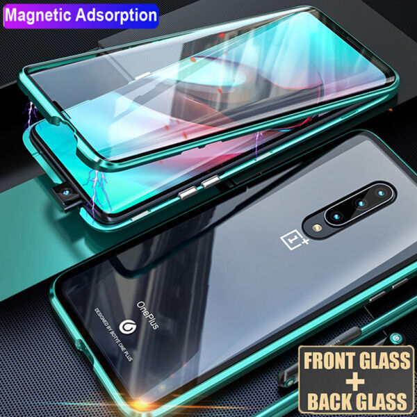 For One Plus 6 6T 7 Pro Magnetic Adsorption Case 360° Full Tempered Glass Cover