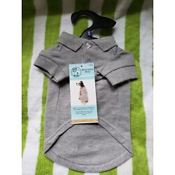 Bran New Gray Dog is Good Patriotic Polo size small