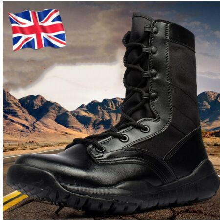 img-Mens Womens Leather Army Military Combats Shoes High Ankle Patrol Security Boots