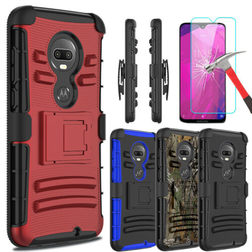For T-Mobile Revvlry+ Plus Case With Kickstand Belt Clip+Glass Screen Protector