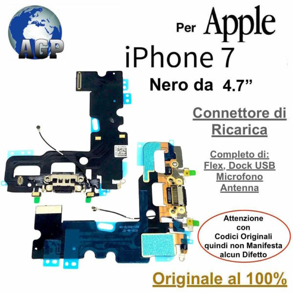 Connettore Ricarica Dock Flex Microfono Antenna Apple iPhone 7 Nero Originale