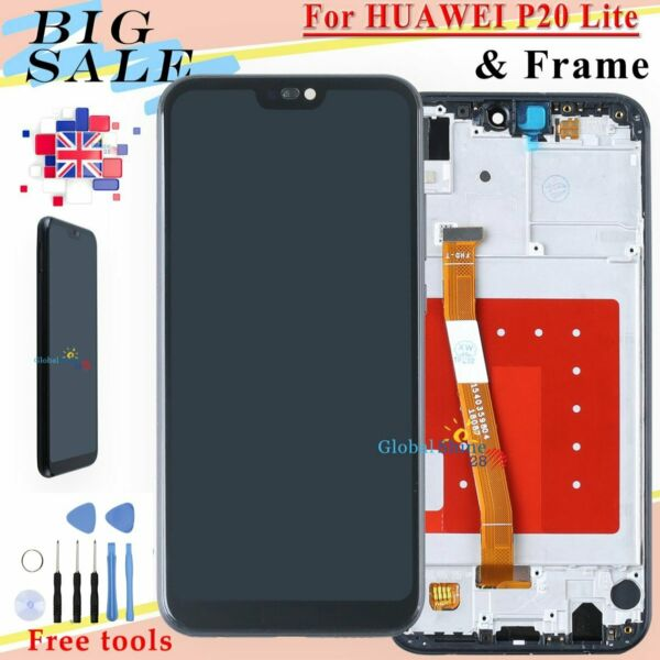 For Huawei P20 Lite ANE-LX1 AL00 LCD Touch Screen Digitizer Assembly Frame Black