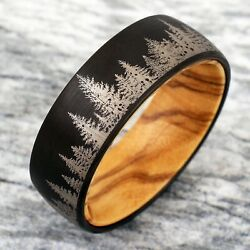 8mm Tungsten Black Forest Tree Setting with Olive Wood Inside Wedding Band Ring