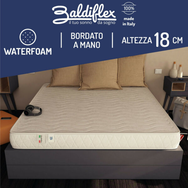 MATERASSO SINGOLO 80x190 H 18 CM ORTOPEDICO IN WATER FOAM ANTIACARO REAL BEST