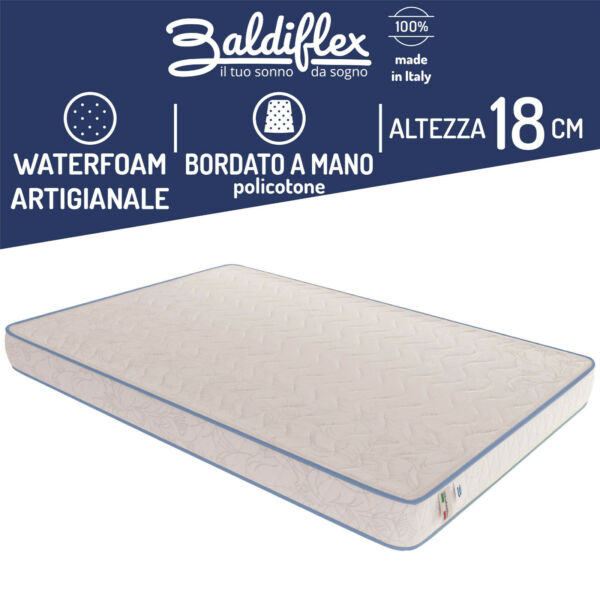 MATERASSO SINGOLO 80x190 POLIURETANO WATERFOAM ORTOPEDICO H 18 CM BASIC