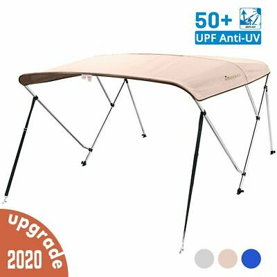 3 Bow Boat Bimini Top Cover Boat Canopy Shade with Support Pole Boot Beige 54-60