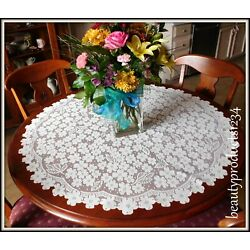 HERITAGE LACE Ecru DOGWOOD 42'' ROUND Tablecloth New w/ Tag Made USA LACE~