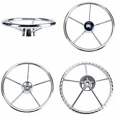 5-Spoke 13-1/2 Inch Destroyer Style Stainless Steel Boat Steering Wheel with Cap