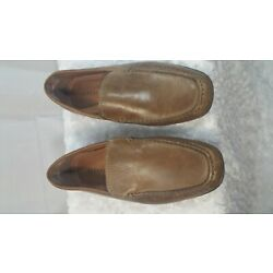 Alfani Mens Tan Brown Leather Slip On Dress Loafers Moccassin Shoes Size 9M EUC