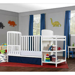 NEW 4-In-1 Baby Crib With Changing Table Combo Furniture Full Size White