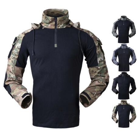 img-Tactical T-Shirt Mens Combat Shirts Army Military Gen3 Force SWAT Casual Hooded