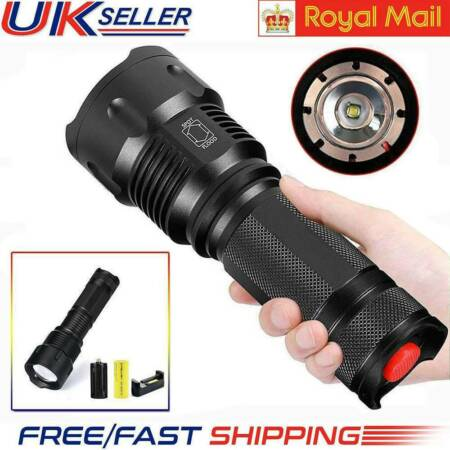 img-50000lm USB Rechargeable Flashlight LED Tactical Work light Torch Lamps UK