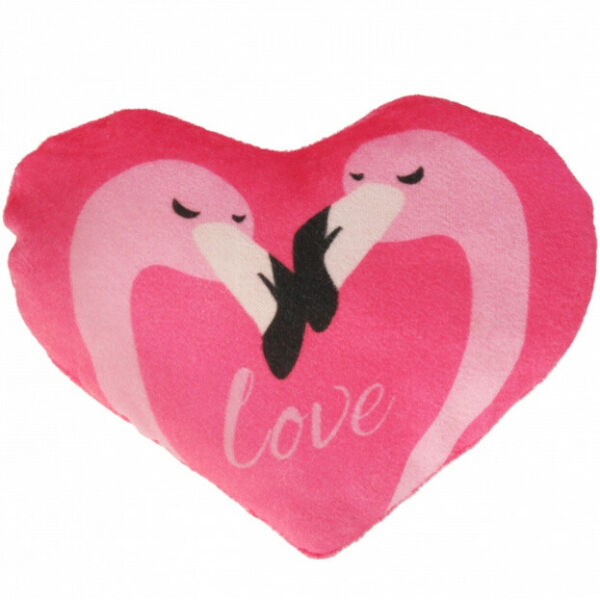 ItaliePeluche Coussin Flamant Rose Coeur Love Amour  20x15 CM
