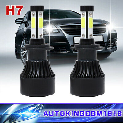 2x H7 4-side LED Headlight Bulbs 120W 32000LM Conversion Kit High Low Beam 6000K