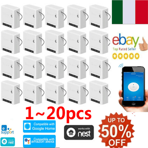 SONOFF WIFI Smart Switch MINI INTERRUTTORE DOMOTICA con ALEXA GOOGLE Home 10A IT