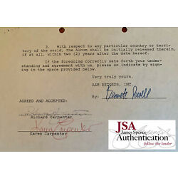 Kyпить THE CARPENTERS * JSA * Karen & Richard AUTOGRAPH Duo * MUSIC CONTRACT * Signed на еВаy.соm