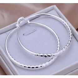 "Kyпить Women's 925 Sterling Silver Diamond Cut Hoop Big Earrings Stylish Women 2"" inch на еВаy.соm"