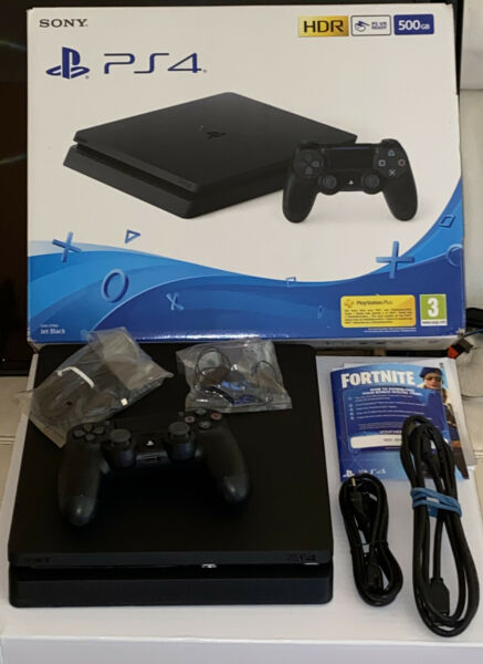 (08) SONY PLAYSTATION 4 PS4 PLUS CONSOLE 500 GB BLACK  COMPLETA GARANZIA 6 MESI