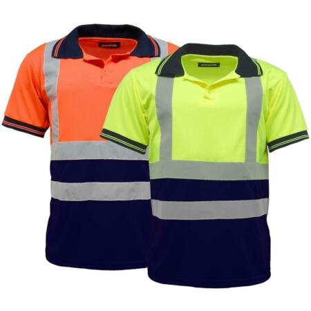 img-Hi Vis Polo Two Tone T Shirts Safety Security Hi Viz Work Security Safety Top