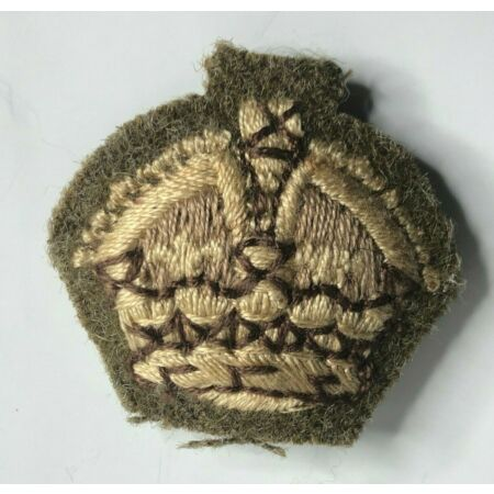 img-WW2 British Army Officers Khaki Rank Crown Cloth Badge Patch 33 x 36 mm