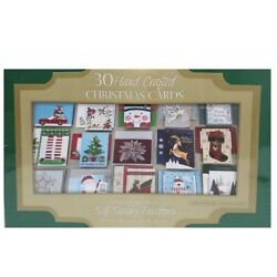 Kyпить Hand Crafted 30 Count Christmas Cards + Self Sealing Embossed Foil Envelopes NEW на еВаy.соm