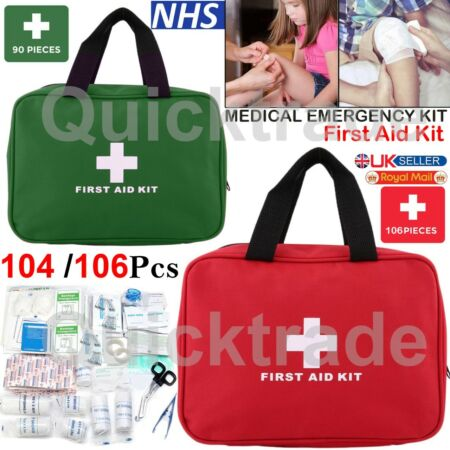 img-104 & 106 Piece First Aid Carry Kit Bag Medical Emergency Travel Home Workplace