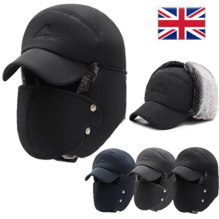 img-Trapper Hat Winter Hats Windproof Thick Warm Cap Face Mask for Outdoor Cycling
