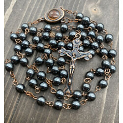 Kyпить Hematite Rosary Black Stone Beads Antique Necklace Jerusalem Holy Soil & Cross на еВаy.соm