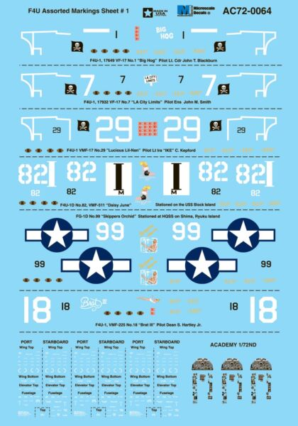 Royaume-UniMicroscale Decals 1/72 Vought F4U corsair Assorti s Feuille #1#
