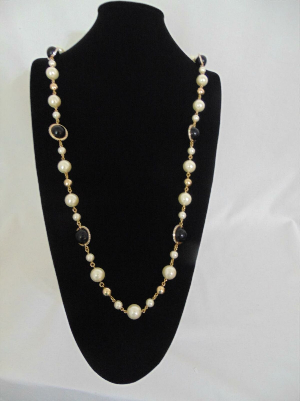UPC 636206336591 product image for Charter Club Gold-tone Kiska Pearl & Pave Bead Strand Long Necklace L752 $49 | upcitemdb.com