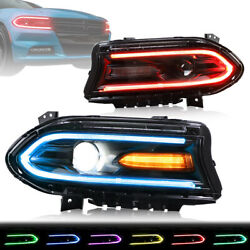 Kyпить LED RGB Headlights For Dodge Charger 15-20 Control Multicolor Projector Assembly на еВаy.соm