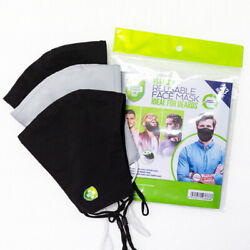 Beard Mask from Green Shield Washable Cloth Face Mask Men with Beards - 3pk XXL