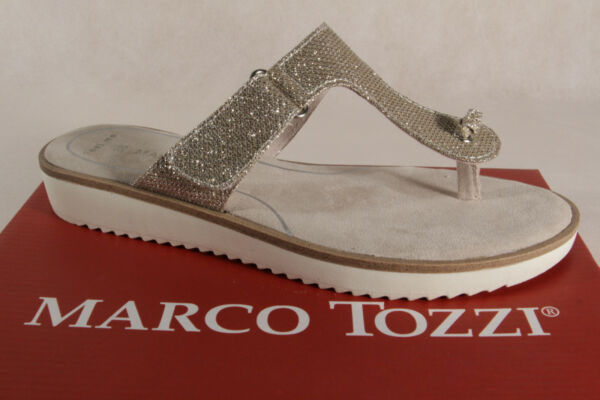 AllemagneMarco Tozzi Paire de Tongs /  Mules Platine Neuf
