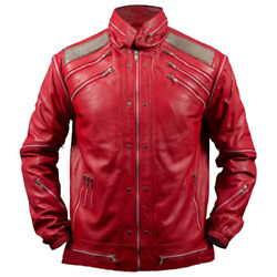 Michael Jackson Beat it ''MJ Beat it'' Real Leather Jacket with Silver mesh