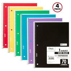 Kyпить Mead Spiral Notebook, 1 Subject, Wide Ruled, 70 Sheets, 4 Pack (72873) на еВаy.соm