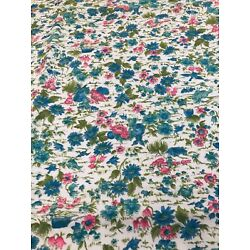 Kyпить Vintage Fabric Cotton Print Villager Blue Green Pink 84