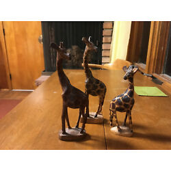 Kyпить hand carved wood wooden giraffe giraffes carving, 3 total на еВаy.соm