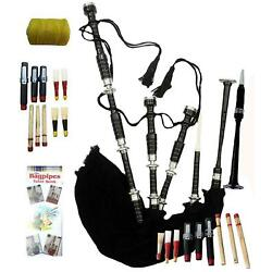 Highland Rosewood Bagpipe Full Silver Mounts Black Cover With Bag & Tutor Book
