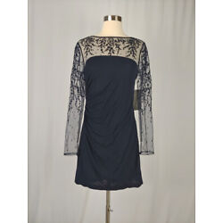David Meister NEW Size 6 Blue Sheer Embroidered Mini Dress NWT