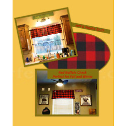 Farmhouse, Black and Red Buffalo, Check, Curtain Valance 42 W x15''L, Country