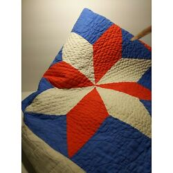 Kyпить VINTAGE PIN WHEEL QUILT OLD FABRIC HAND MADE RED WHITE BLUE 76 X 76