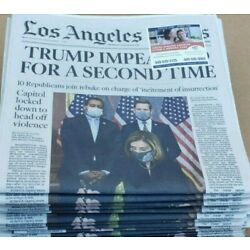 Kyпить LA Times Newspaper TRUMP IMPEACHED FOR A SECOND TIME!!! 1/14/21 на еВаy.соm