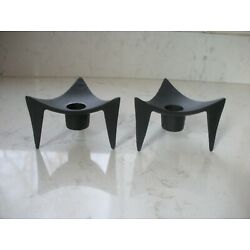 Kyпить vintage mid century modern atomic  candle holders black metal triangle Japan на еВаy.соm