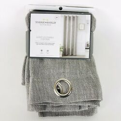 Threshold Gray Textured Weave Light Filtering Curtain Panel 84 in x 54 in