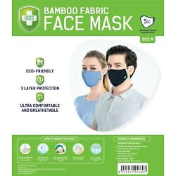 Green Shield Face Mask Washable Reusable Triple Layer (QTY 5pcs) (Solid Black)