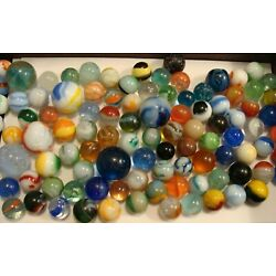 Kyпить 100 Vintage Marbles Used Old Time Toys Collect Display Decor Your Jar #1 Pretty на еВаy.соm