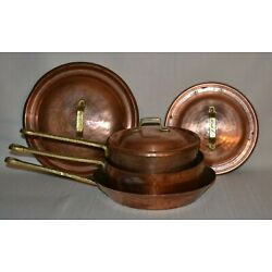 Kyпить Vintage Copper Hammered Tin lined Pan Set of 3 W/ Brass Handles & Lids -Unmarked на еВаy.соm