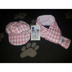Pets   Winter PINK HOUNDSTOOTH HAT & SCARF Small Dog/Cat Warm Accessories Caps