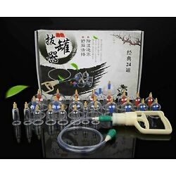 Massage Cans Cupping 24Pcs Therapy Opener Pull Vacuum Cups Tank Set Care Tool
