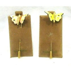 Kyпить  2 Vintage Unmarked Gold Tone Butterfly Enamel Stick Pins On Giovanni Cards на еВаy.соm